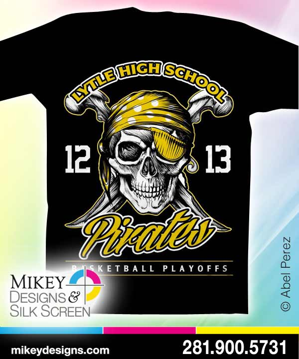 Pirates high school t shirt design t shirt screen for Screen printing designs for t shirts