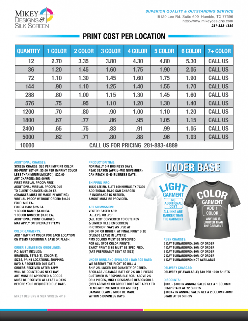 34ddda836 Mikey Designs T-Shirt Screen Printing Price List 2018